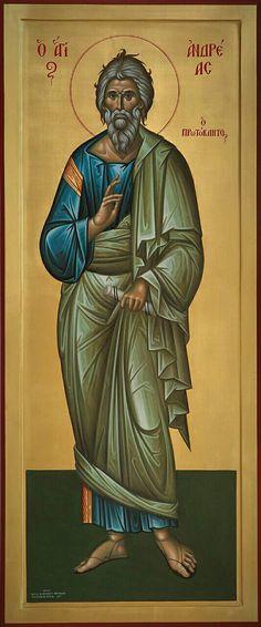 The Holy Apostle Andrew, the First-Called. Byzantine Icons, Byzantine Art, Religious Icons, Religious Art, Roman Church, Saint Matthew, St Andrews, Orthodox Icons, Renaissance Art