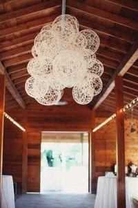 white twine ball chandelier wedding