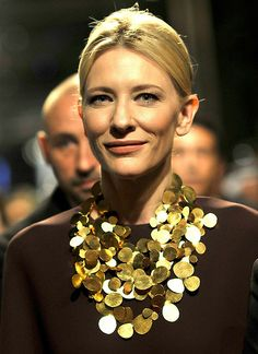 Cate Blanchett by Gareth Cattermole 2013 Cate Blanchett, Celebrity Jewelry, Celebrity Style, Fashion Beauty, Fashion Looks, Womens Fashion, Neck Piece, Contemporary Jewellery, Outfit