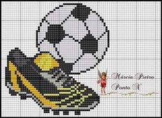 Soccer Shoe and Ball Cross Stitch Pattern Cross Stitch Boards, Cross Stitch Bookmarks, Cross Stitch Baby, Counted Cross Stitch Patterns, Cross Stitch Embroidery, Knitting Charts, Plastic Canvas Patterns, Le Point, Cross Stitching