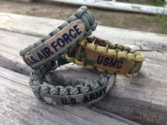 Paracord Bracelet with Name Tape / Army / Air by CADETcouture, $10.50