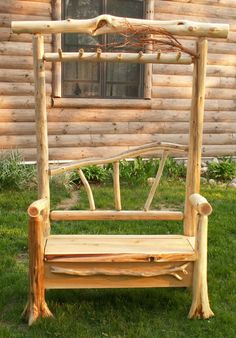 Cedar Log Bench with Coat Rack