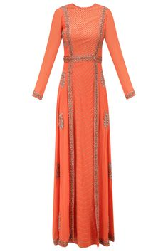 Orange and gold embroidered motifs long kurta set available only at Pernia's Pop Up Shop.