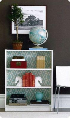 DIY fabric-covered (or wallpaper-covered?) bookcase (easy way to dress up a cheap bookcase)