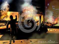 Violent riots, close to a big city, of people burning shops and vehicles at night.