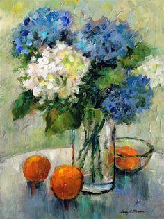 "Daily Paintworks - ""Hydrangeas With Oranges"" - Original Fine Art for Sale - © Nancy F. Morgan"