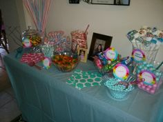 Alyssa's Candy Bar :-) Such a hit! Pixie sticks, Skittles, candy sticks, dum dums, smarties, gummy bears, ring pops, gum balls, Sixlets, and last but not least white chocolate dipped marshmallows ;-) Some dishes are plastic from Party City, others are glass ones from Hobby Lobby and Michael's