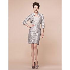 Sheath/Column Plus Sizes Mother of the Bride Dress - Silver Knee-length 3/4 Length Sleeve Taffeta – USD $ 99.99