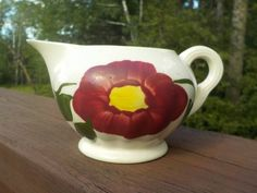 Blue Ridge Pottery Creamer, Red Nocturne Pattern