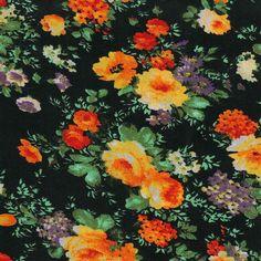 Simply Silky Prints- Vintage Floral Orange, Purple