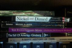 """""""Untitled #2"""" - Nervous conditions / Nickel and dimed / Writers in crisis / The evolutionary mind / The fall of America / A brief history of time #butlerbookspine"""