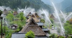 "Village in Japan Hosts ""Water Hose Festival"" To Test Its Spectacular Fire Extinguishing System"