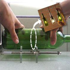 Cutting Glass Bottles, Old Glass Bottles, Glass Bottle Crafts, Wine Bottle Art, Bottles And Jars, Bottle Cutter, Glass Cutter, Cool Gadgets To Buy, Bottle Lights