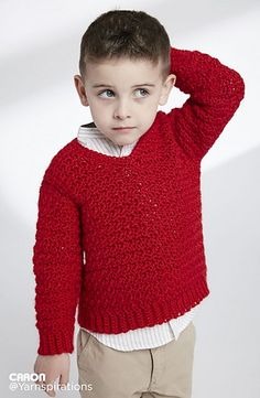 Ravelry: Child's Crochet V-Neck Pullover pattern by Caron Design Team