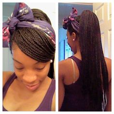 Box braid style: side swoop with a high ponytail and a scarfbow!!!
