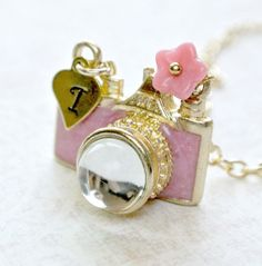 Pink Camera Necklace,Personalized Initial Necklace,Initial hand stamped,Personalized Necklace, Initial Necklace on Etsy, $22.00