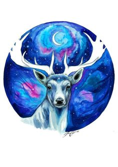 Moon stag signed Art Print by PixieColdArt on Etsy