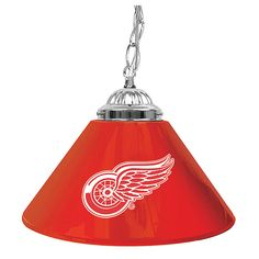 Trademark Commerce NHL1200-DR NHL Detroit Redwings 14 Inch Single Shade Bar Lamp