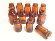 Vintage Lot APOTHECARY BROWN GLASS Bottles Medicine ANCHOR HOCKING ADOLPH