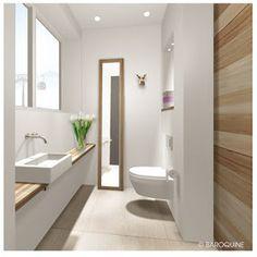 Raumkonzept | 3D-Darstellung Bei diesem Entwurf war Skihüttenflair gefragt. Die Waschtischkonsole, der Rahmen des hochformatige...