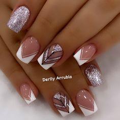 Cute Acrylic Nail Designs, French Tip Nail Designs, Manicure Nail Designs, Cute Acrylic Nails, Cute Toe Nails, Classy Nails, Stylish Nails, Trendy Nails, Pink Nails