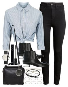 Outfit with high waisted jeans and a crop shirt by ferned on Polyvore featuring polyvore, fashion, style, Topshop, H&M, Golden Goose, 3.1 Phillip Lim, Forever 21, David Yurman, Kate Spade, Fendi, Gucci and clothing