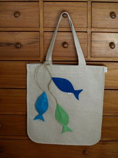 Linen like Tote bag with Felt Fishes Applies by LaCasaDeLaPlaya, $40.00