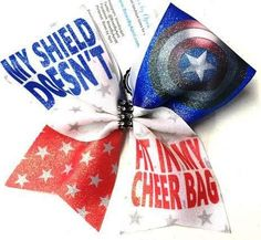 Bows by April - My Shield Doesn't Fit in My Cheer Bag Glitter Cheer Bow, $15.00 (http://www.bowsbyapril.com/my-shield-doesnt-fit-in-my-cheer-bag-glitter-cheer-bow/)