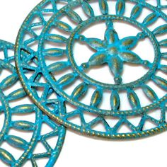 Big Earrings in Turquoise Chic Shabby Finish, Filigree Jewelry