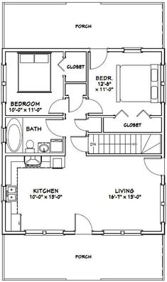 My Shed Plans - House -- 848 sq ft - Excellent Floor Plans - Now You Can Build ANY Shed In A Weekend Even If You've Zero Woodworking Experience! Garage Apartment Plans, Garage Apartments, Cabin Floor Plans, Tiny House Plans, Small House Plans Under 1000 Sq Ft, Tiny Home Floor Plans, Basement Floor Plans, Basement Layout, House 2