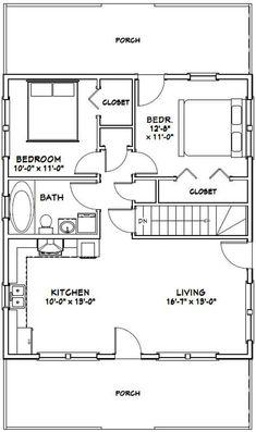 28x32 House -- 2-Bedroom 1-Bath -- 848 sq ft -- PDF Floor Plan -- Instant Download -- Model 2J