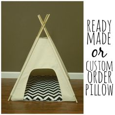 "Dog/Cat Teepee Pet Tent -Small 24"" base- Natural Canvas -PICK YOUR PILLOW - Ready Made or Custom Order it - Tenthouse Suite by Vintage Kandy on Etsy, $95.00"