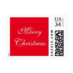 Merry Christmas Script Red & White Postcard Stamp