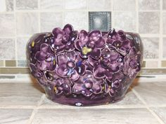 Bowl, Hand thrown, with Raised Flowers one of a kind.  Purple speckled glaze.  8 x 4. Food and dishwasher safe. by GabiLuBoutique on Etsy