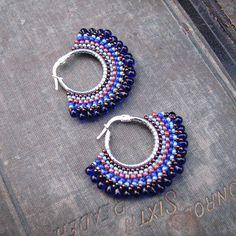 Cobalt Beaded Hoops, Sterling Earrings, Boho Style, Blue B… Seed Bead Earrings, Silver Hoop Earrings, Beaded Earrings, Earrings Handmade, Pendant Earrings, Crochet Earrings, Silver Hoops, Blue Earrings, Seed Beads