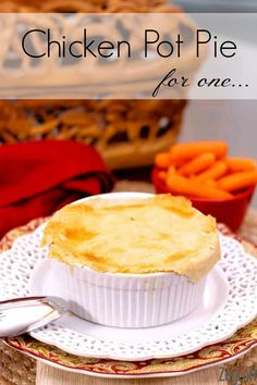 Chicken Pot Pie For One! There is no cream in this gravy. ♥ ZagLeft