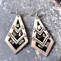 Vintage Alpaca Silver and Abalone Earrings from Taxco