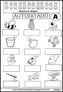 Autoditado para alfabetização com a letra A
