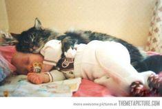 funny cat sleeping with baby hug