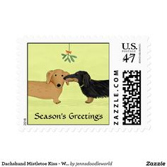 Dachshund Mistletoe Kiss - Wiener Dog Christmas Postage