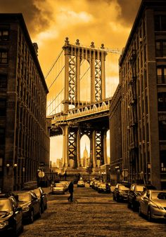 Stephen Wilson, Photographer....Manhattan Bridge, Brooklyn, NYC....................note from Pinner:  I actually have no idea whether this shot is at sunrise or sunset. All I know is that it captures the play of light as well as any photo I've ever seen.