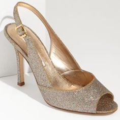 """Manolo Blahnik Gold Glitter Slingback Pump 39.5 nw Manolo Blahnik 'Brillis' Gold Glitter Slingback Pump.  Effusive glitter illuminates a sleek pump styled with a precocious peep toe.  Approx. heel height 4"""". Fabric Upper/leather lining and sole.  39.5 NWT & box. Manolo Blahnik Shoes"""
