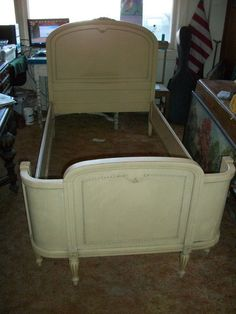 antique french country provincial two twin beds dresser with mirror and chair set pick up only - Antique Twin Bed Frame