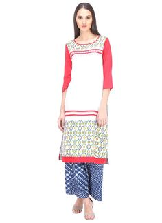 Buy exclusive kurti online with free shipping. Shop for immaculate print work rayon party wear kurti.