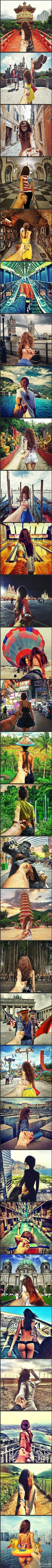 I like these photos. Because they are taken by a photographer with his girlfriend. And they travel to many places in this world! If I am that his girl~~~~