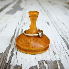 Ring holder wooden Osage Orange woodturning by moonskywoodworks, $14.00