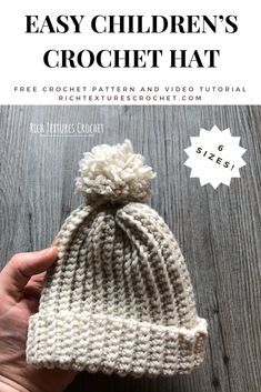 Learn how to crochet this Easy children's hat with this free crochet pattern and video tutorial. #crochet Kids Crochet Hats Free Pattern, Childrens Crochet Hats, Beanie Pattern Free, Easy Crochet Hat, Baby Hat Patterns, Crochet Beanie Pattern, Crochet Kids Hats, Easy Crochet Patterns, Knit Or Crochet