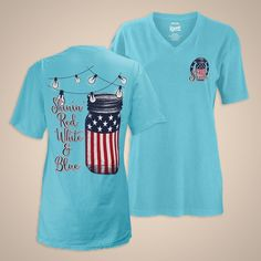 Royce Brand USA - American Flag - Mason Jar - Women's T-shirt - Memorial Day - Fourth of July - Summer Style - Shine Patriotic Vee-Neck Fourth Of July Shirts, 4th Of July Outfits, Holiday Outfits, Patriotic Outfit, Patriotic Shirts, Monogram Shirts, Vinyl Shirts, Simple Southern Shirts, Simply Southern
