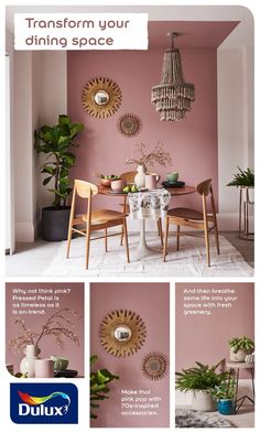 Looking for a painted ceiling idea? Learn how to transform your dining room with. : Looking for a painted ceiling idea? Learn how to transform your dining room with this pink decor idea. Pink Dining Rooms, Dining Room Paint, Dining Room Colors, Dining Decor, Living Room Decor, Kitchen Dining, Brick Wallpaper Bedroom, Room Wall Painting, Ceiling Painting