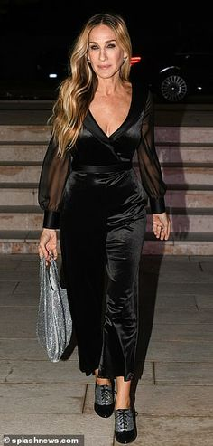 Work it: Sarah looked incredible as she showcased her svelte frame in a plunging black velvet jumpsuit with sheer arms and a silk waist belt Black Velvet Jumpsuit, Mature Style, Mature Fashion, Sarah Jessica Parker, Irina Shayk, Verona, Mail Online, Daily Mail, Supermodels